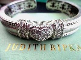 JUDITH RIPKA WIDE STERLING SILVER & DMQ  HEART HINGED CUFF BRACELET JR B... - $159.95