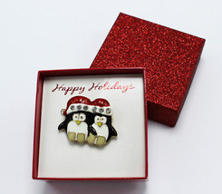 Lovely New Holiday Double Penguin Brooch Pin with Rhinestones in Gift Box - $6.43