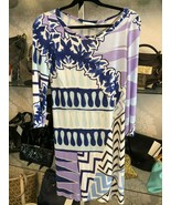 EMILIO PUCCI Blue/Multi Color Print 3/4 Sleeve Rolled Neckline Dress $580 - $291.95