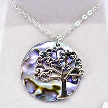 Storrs Wild Pearle Abalone Shell Tree of Life Pendant w/ Silver Tone Necklace image 2