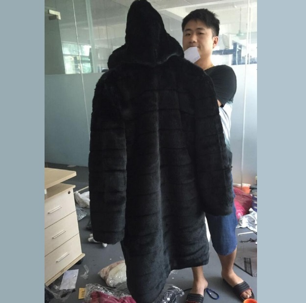 Full Plus Sized Unisex Hooded Long Black Sleek Imitation Mink Faux Fur