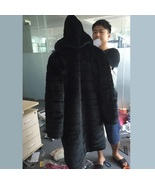 Full Plus Sized Unisex Hooded Long Black Sleek Imitation Mink Faux Fur  - $349.95
