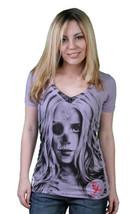 Cardboard Robot Good Head Ladies Lilac Purple V-Neck T-Shirt Small NWT