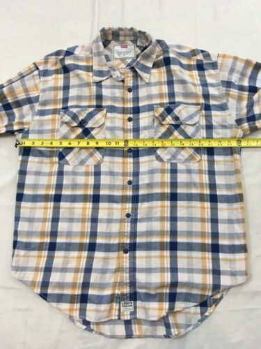 Levis Mens L Blue Yellow Plaid Hiking Camp Lightweight Cotton Flannel Shirt image 5