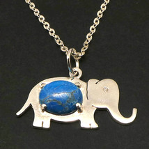 Handmade 925 Sterling Silver Elephant Turquoise Bead Oval Necklace Pendant - $52.00