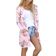 Women's Floral Print Long Sleeve Open Boho Wrap Cover Up Cardigan with Pockets - $25.68
