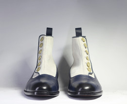 Handmade Men's White and Blue High Ankle Two Tone Buttons Dress/Formal Leather & image 2