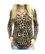 2017 Women Blouse Leopard Print Shirt Long sleeve O-Neck Top Loose Blouses Plus  - $23.00 - $24.00