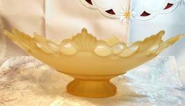 VINTAGE LACE EDGE 9 POINT MATTE LIGHT YELLOW GLASS PEDESTAL CENTERPIECE BOWL image 3