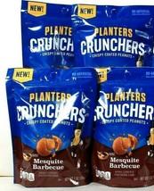4 Bags Planters 7 Oz Crunchers Mesquite Barbecue Crispy Coated Peanuts B... - $17.99
