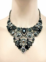 Black Evening Necklace Earrings Set Rhinestones & Clear Crystal Pageant, Bridal - $37.00
