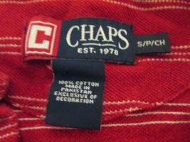Men's red polo shirt w/ white stripes Size S By Chaps  MKARL305 - $9.56