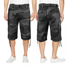 Men's Military Army Camo Camouflage Slim Fit Cargo Shorts With Belt w/Defect 32