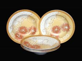 4 VTG AFG Distributors Asian Floral Gold Coral Frosted Matte Dessert Bowls Japan - $39.99