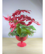 Fabulous Vintage Plastic Poinsettia Plant with Red Plastic Stand Pot • H... - $18.00
