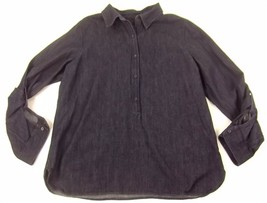 Talbots Denim Shirt Top Large Dark Blue Roll Tab Sleeve - $18.99