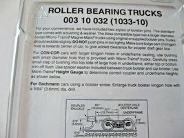 Micro-Trains Stock #00310032  (1033-10) Roller Bearing Trucks Medium Couplers image 3