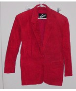 WINLIT Red Suede Jacket SMALL Lined Leather Coat 2-Button Collared Blaze... - $40.09