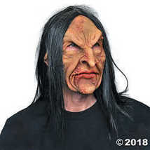 Deviant Warlock Zombie Witch Ugly Horror Latex Adult Halloween Costume Mask - £53.14 GBP