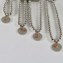 Silver Bracelet 925 Jack&co with Balls Shiny and Pendant in Rose Gold 9 Carats image 2