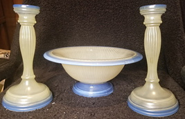 Blue and White Bowl and Candlesticks - $64.99