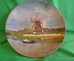 Vintage Scandinavian Pottery ceramic Wall Decor Plaque Plate signed K. S... - $45.00