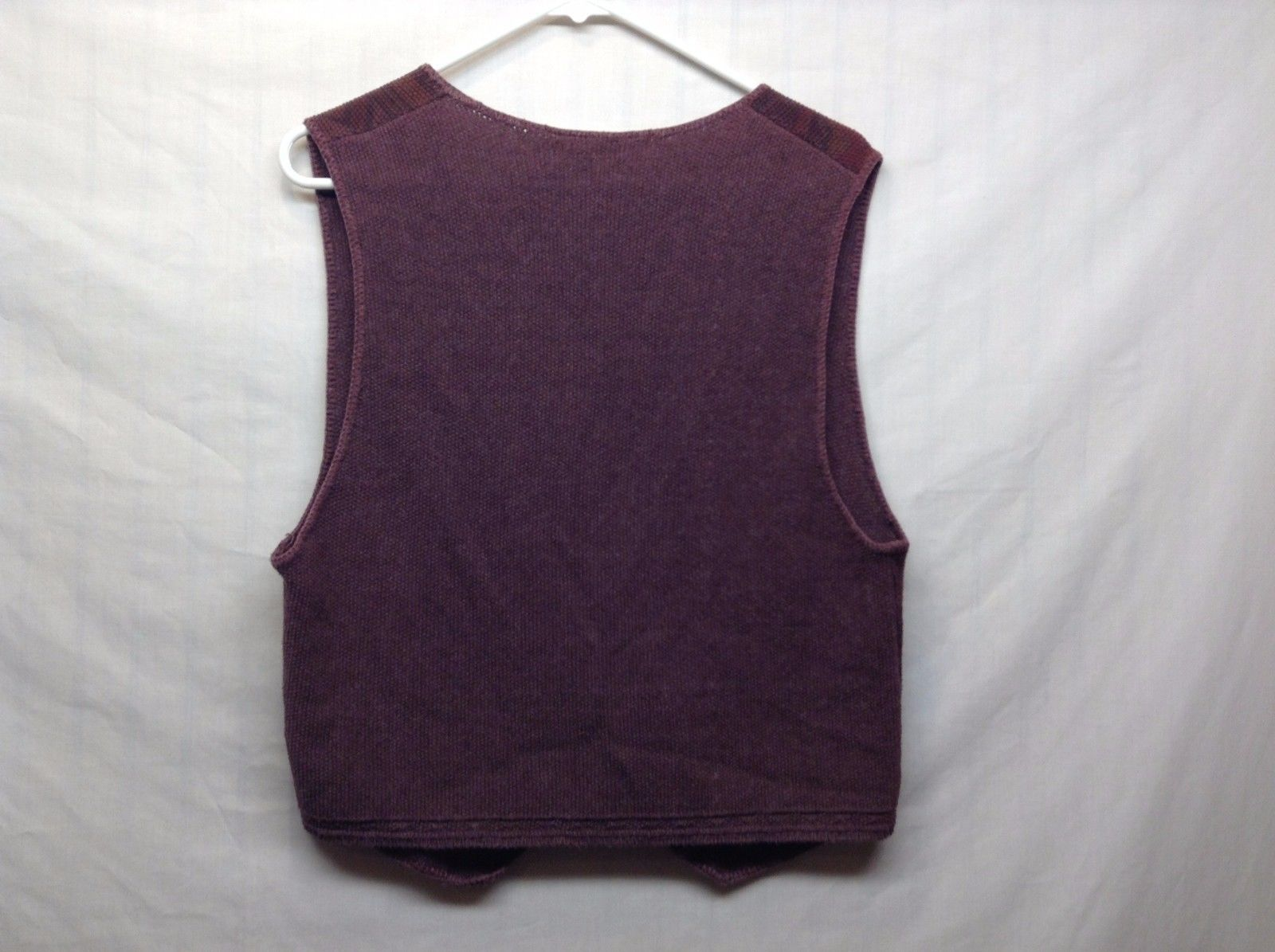 United States Sweaters Purple Patterned Button Up Vest Sz M  image 4