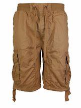 LR Scoop Men's Elastic Waist Drawstring Multi Pocket Cotton Cargo Shorts CJS-80 image 14