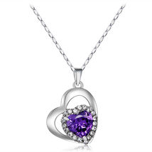 Silver - Necklace Fashion Popular Women's Love Heart Style Crystal Necklace - $16.56