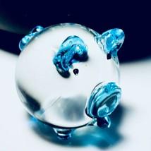 Glass Figurine Tiny Pig Blown Hand Miniature Art Animal Light Blue Farm ... - $6.99