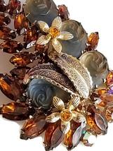 Vintage Molded Glass Rose and Topaz Rhinestone Brooch, Vintage Floral Pin image 3