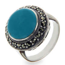 925 Sterling Silver Round TURQUOISE & MARCASITE Ring Size 6.5 » R324 - £20.05 GBP