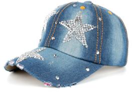 Hat Cap Fashion Leisure Cross Cap Rhinestones STAR Jean Cotton - $29.99
