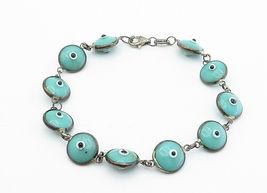 925 Sterling Silver - Vintage Turquoise Googly Eye Link Chain Bracelet - B6070 image 3