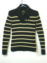 Black Label RALPH LAUREN Sweater Gold Ribbed Shawl Collar Gold Buckle Sm... - $39.59