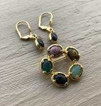 Vintage Mid Century Egyptian Revival Gemstone Scarab Brooch Earrings Set - $31.49