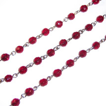 5 ft Red Glass Rosary Beads Silver Chain 6mm Religious Necklace Craft Su... - $15.29