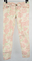 Current Elliott Stiletto Red Rose Print Stretch Denim Jeans 25 Womens USA - $23.46