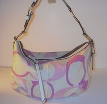 COACH PINK MAGENTA SIGNATURE HOBO PURSE Texture... - $39.96