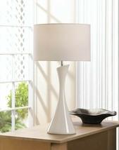 Artist White Ceramic Base Table Lamp w/ Fabric Shade Sleek Modern Style - $55.45