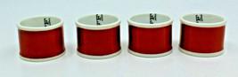 Fitz and Floyd Porcelain Rondelet Terra Cotta White Napkin Rings Japan Set of 4 - $28.80