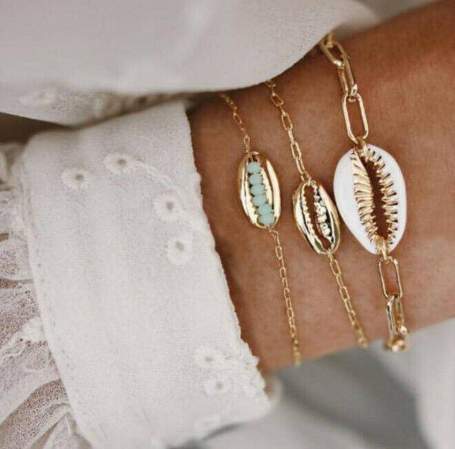 Primary image for 5Pcs/Set Fashion Women Boho Heart Map Shell Tassel Beads Bracelet Bangle Jewelry