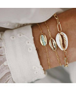 5Pcs/Set Fashion Women Boho Heart Map Shell Tassel Beads Bracelet Bangle... - £6.17 GBP