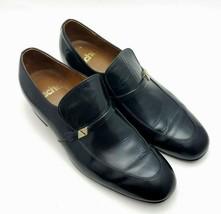 Sacha Mens Size 9 D Loafers Horse Bit Apron Toe Slip on Black Dress Shoes - $38.27