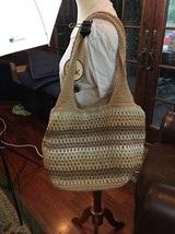NEW THE SAK  Crochet Purse Bag Tote Handbag Tan Cream Brown Lilac Dune - $51.43
