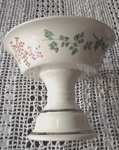Soap Dish Pedestal Christmas Holly Porcelain Compote - $18.46