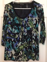 Knit Tunic Top Abstract Floral Print Silky Lace Trim Scoop Neck Blue Gre... - $10.84