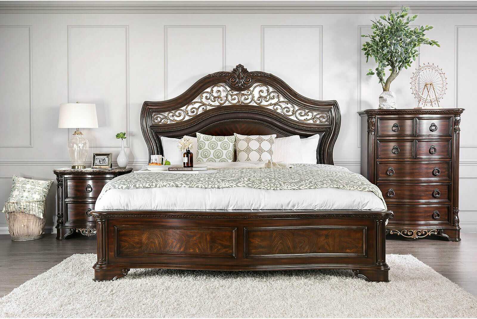 Old World Cherry Brown Amp Marble Bedroom Furniture 5pcs
