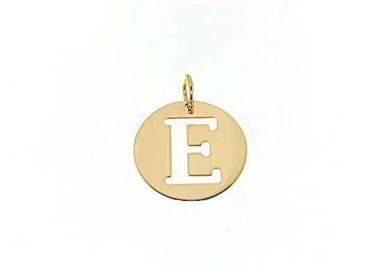 18K YELLOW GOLD LUSTER ROUND MEDAL WITH LETTER E MADE IN ITALY DIAMETER 0.5 IN