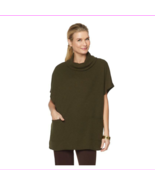 Slinky Brand Long Cowl-Neck Poncho Sweater with Pockets in Olive, XS - $15.39